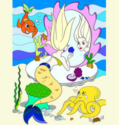 mermaid looks in the mirror color book for vector image