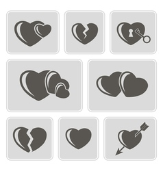 monochrome icons with hearts vector image vector image