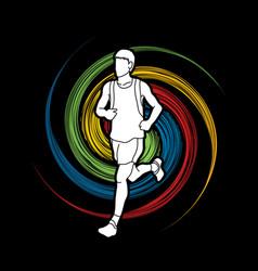 running man sport man sprinter marathon runner vector image