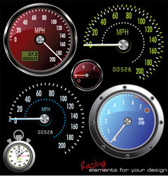 set of speedometer and counter vector image