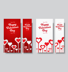 set of vertical web banners happy valentines day vector image