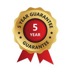5 year guarantee badge year guarantee logo photo vector