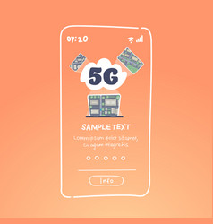 5g data cloud digital devices network online vector image