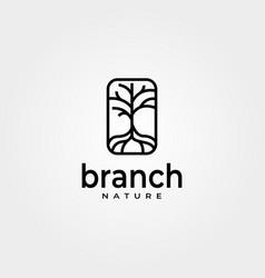 Abstract branch tree logo line art minimal design vector