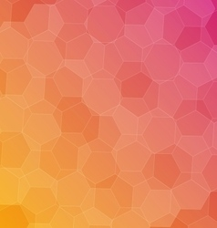 Abstract pink orange background with hexagons vector image
