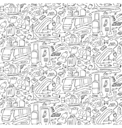 airport doodle seamless pattern vector image
