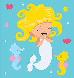 Amusing Little Mermaid and seahorses vector