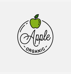 Apple fruit logo round linear logo green apple vector