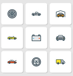 automobile icons colored line set with cabriolet vector image