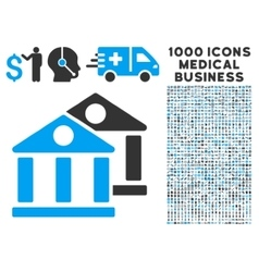 Banks Icon with 1000 Medical Business Symbols vector image