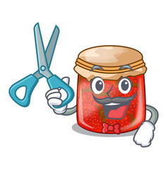 Barber character homemade strawberry marmalade in vector