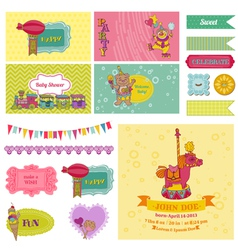 bashower circus party set vector image
