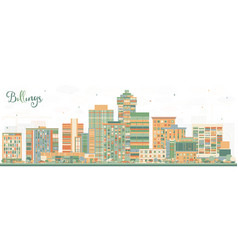 Billings montana city skyline with color buildings vector