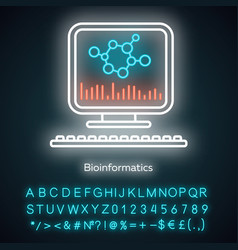 Bioinformatics neon light icon human genome vector