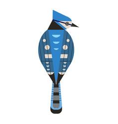 Blue jay bird icon in flat design vector