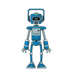 Blue robot intelligence artificial vector