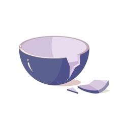 Broken Bowl on White Background vector image