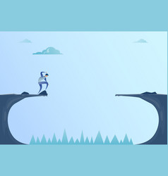 Business man standing on edge of cliff gap problem vector
