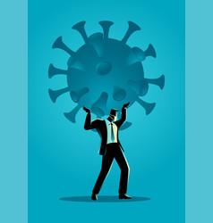 businessman holding a giant coronavirus vector image