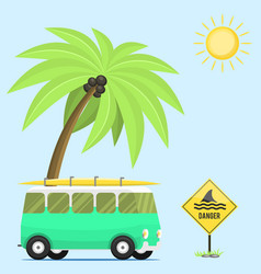 campers vacation travel car summer nature vector image