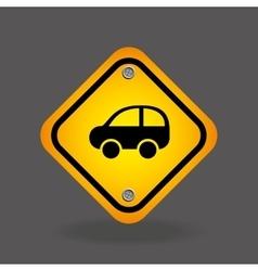 Car yellow road street sign vector