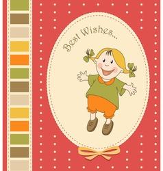 Cartoon little girl greeting card vector image