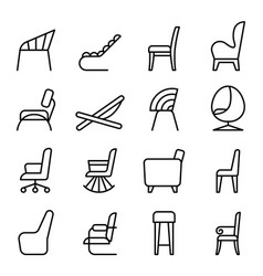 Chair icon set in side view thin line style vector