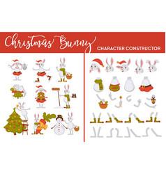 Christmas bunny character constructor rabbit vector