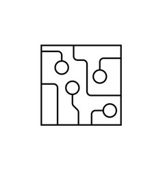 circuit board technology line icon black on white vector image