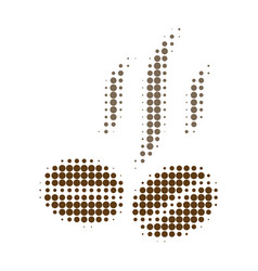 Coffee beans smell halftone dotted icon vector