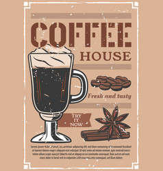 Coffee house cafeteria advertisement retro poster vector