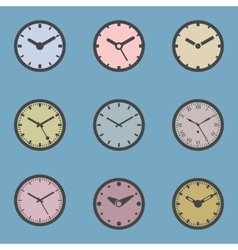 Colored Clock Icon Set vector image
