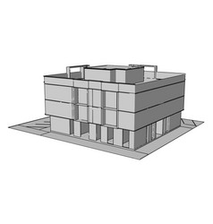 complex building on white background vector image