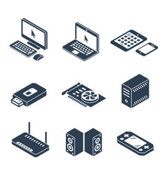 computer gadgets and hardware isometric icons vector image