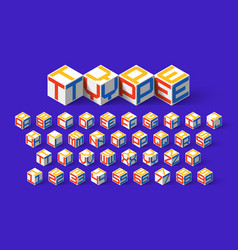 Cube shape 3d isometric font three-dimentional vector