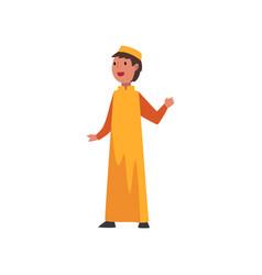 Cute arab boy in orange traditional muslim clothes vector