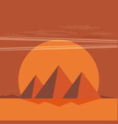 desert view egypt pyramids sunset flat vector image