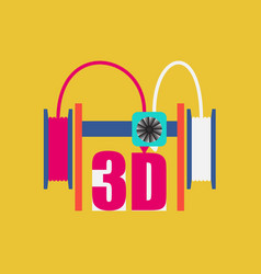 dual extruder 3d printer vector image