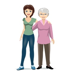 Elderly woman with adult daughter vector image