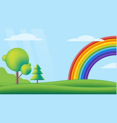 fantastic scape rainbow on valley flat kids vector image