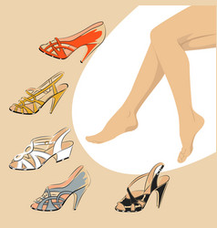 Female legs with retro shoes fashion style vector