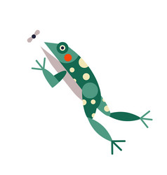 Frog jump and caught insect in flat vector