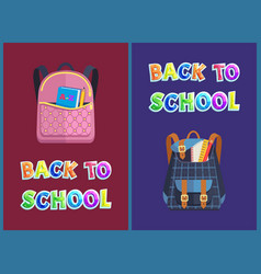 Girlie and unisex bags back to school promo poster vector
