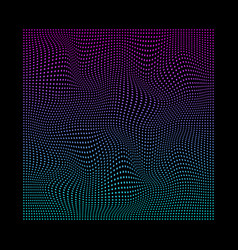 glitched square small particles in neon vivid vector image
