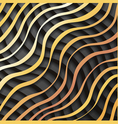 gold black paper waves 3d realistic template vector image