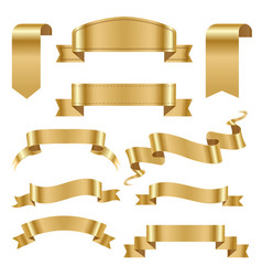 Golden ribbon tape banner flag bow classic glossy vector