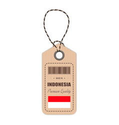 Hang tag made in indonesia with flag icon isolated vector