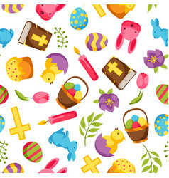 happy easter seamless pattern with decorative vector image