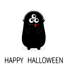 Happy halloween monster black silhouette open vector