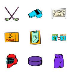 Hockey sport icons set cartoon style vector